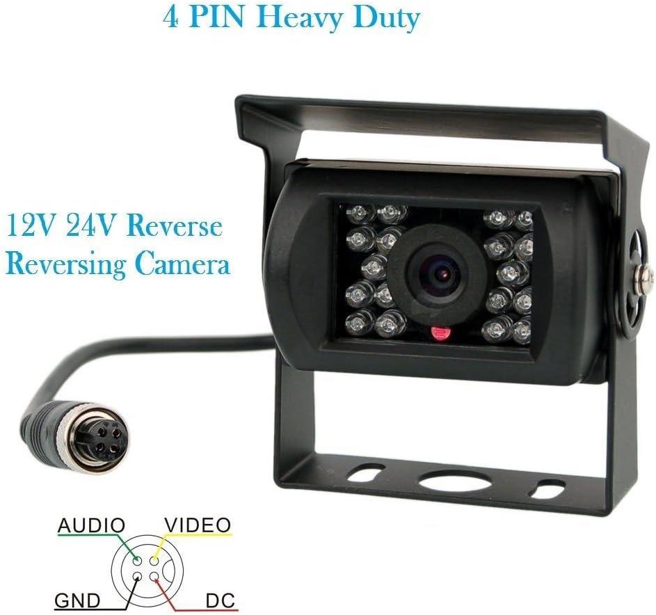 12/V-24/V 4pin Bus Camion Remorque Heavy Duty 18/LED IR /étanche Vision de nuit Recul sauvegarde Cam/éra de recul avec c/âble de 15/m 4/broches