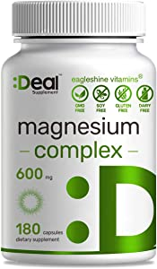 Deal Supplement Magnesium Complex 600mg,180 Count,High Absorption/Performance Chelated Mag Formula for Sleep,Calm,Muscle Cramps,Relaxation and Recovery, Non-GMO,No Gluten, No Soy & No Diary