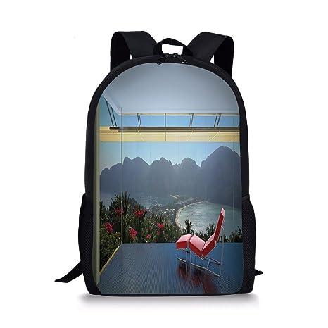 1e757f8f51a4 Amazon.com: iPrint School Bags Landscape,Tropical Island Flowers ...