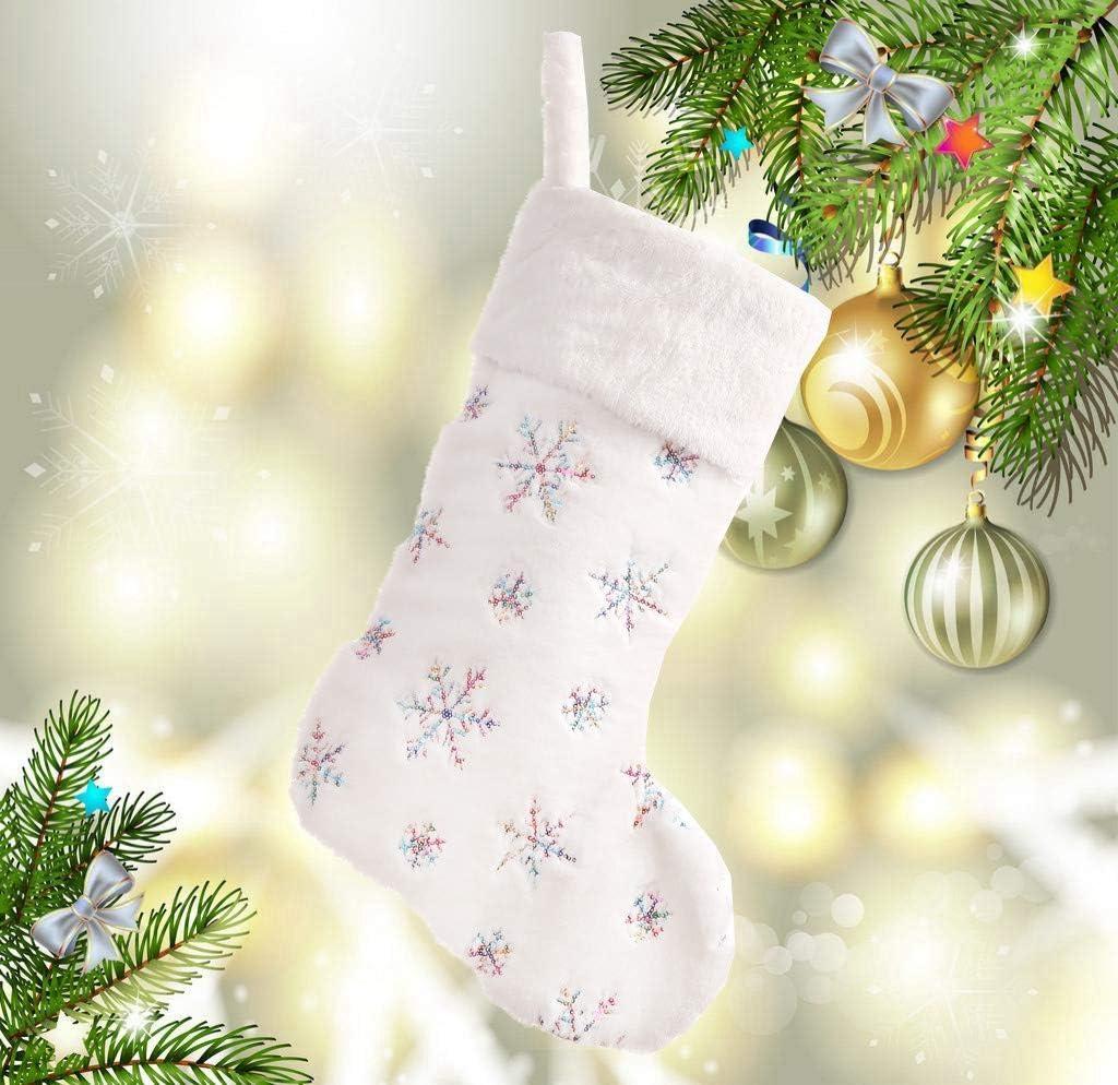 Weihnachtssocken Deko 49X23CM Weihnachtsschmuck Weiche Perlen Bestickte Weihnachtsstr/ümpfe f/ür Zuhause,Kaminsims,Weihnachten A 1 St/ück Weihnachtsdeko Stoff Weihnachtsstiefel
