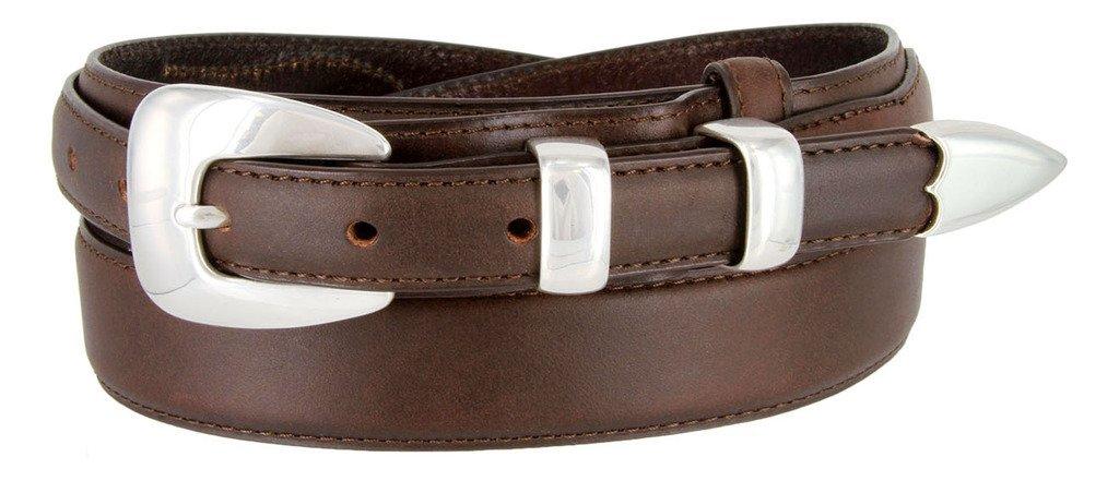 シルバーバックルセットoil-tanned Genuine Leather Westernレンジャーベルト男性用 B015QLU1M4 34|ブラウン ブラウン 34