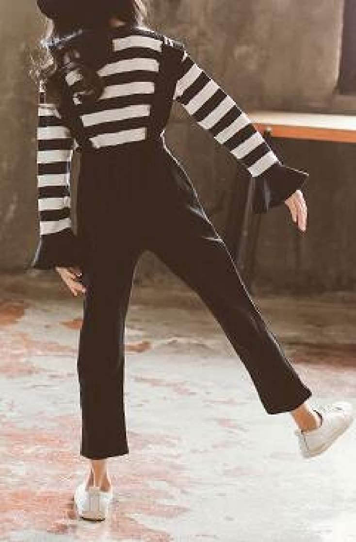 Macondoo Girl Fashion Striped T-Shirt 2 Pieces Suspender Pant