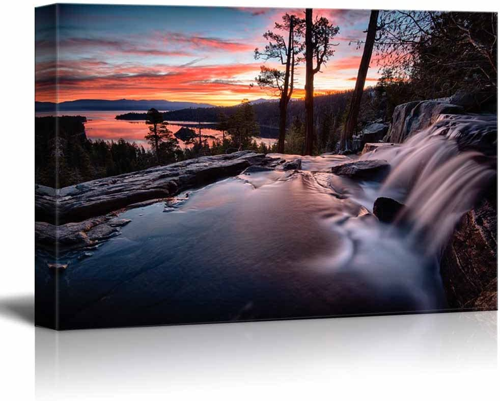 "wall26 - Canvas Prints Wall Art - Water Falling into a Lake, Lake Tahoe | Modern Wall Decor/Home Decoration Stretched Gallery Canvas Wrap Giclee Print. Ready to Hang - 24"" x 36"""