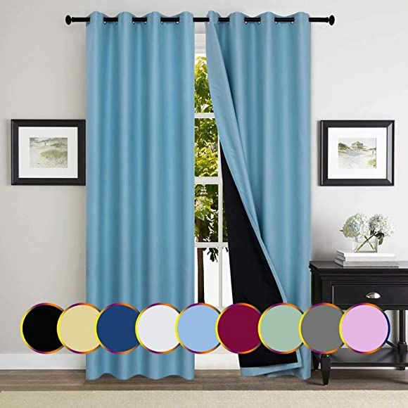 Mitlatem Blue Insulated Blackout Curtains 2 Panels W72 x L84 Inch Grommet Complete Room Darkening Drapes with Black Liner Blue, 72 W x 84 L