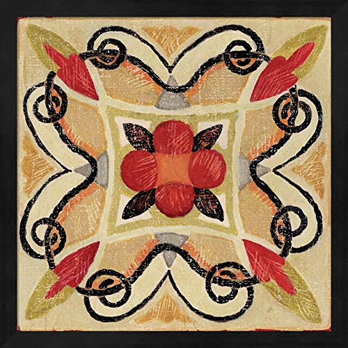 Bohemian Rooster Tile Square I by Daphne Brissonnet Fine Art Print with Wood Box Frame and Glass Cover, 15 x 15 inches