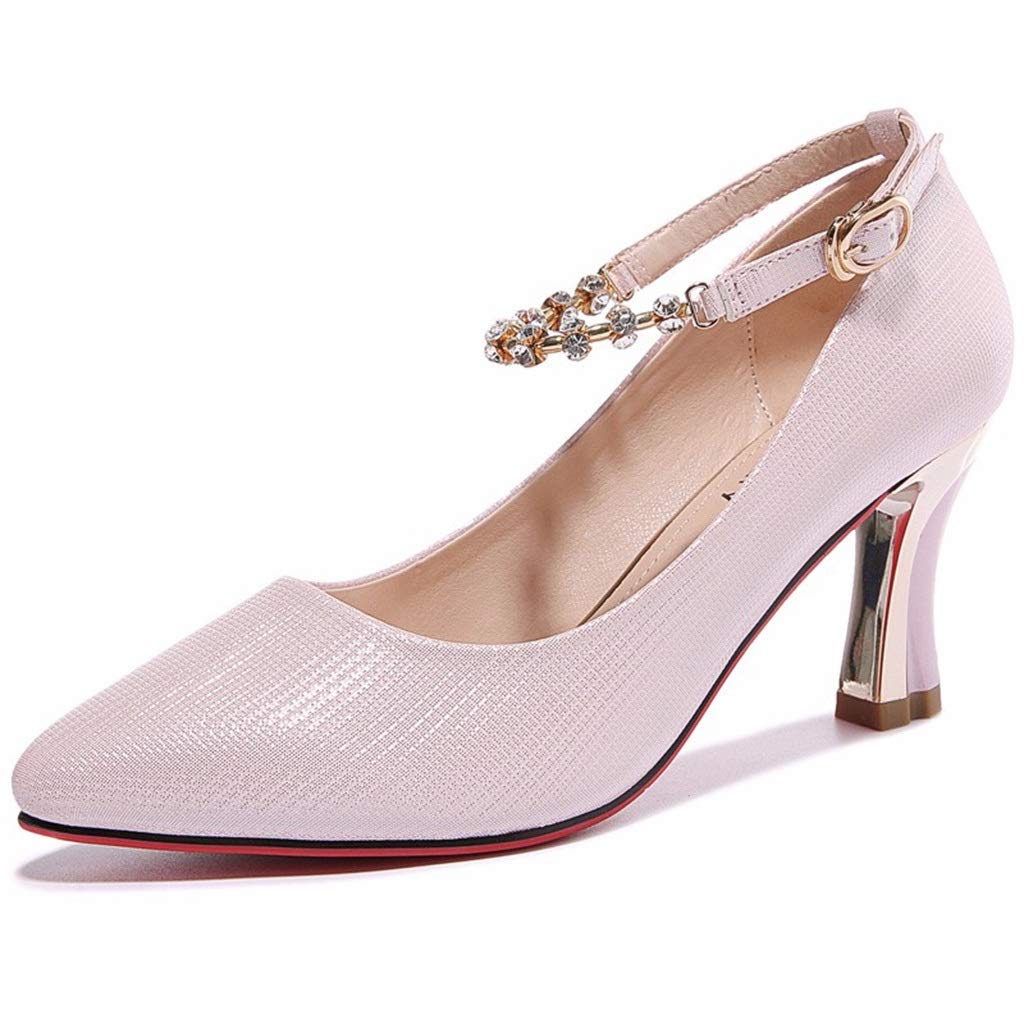 PINK High Heels Thick with Women's shoes 2019 Spring New Women's shoes Korean Version of The Pointed Word Buckle Sandals Women's shoes (color   White, Size   39)
