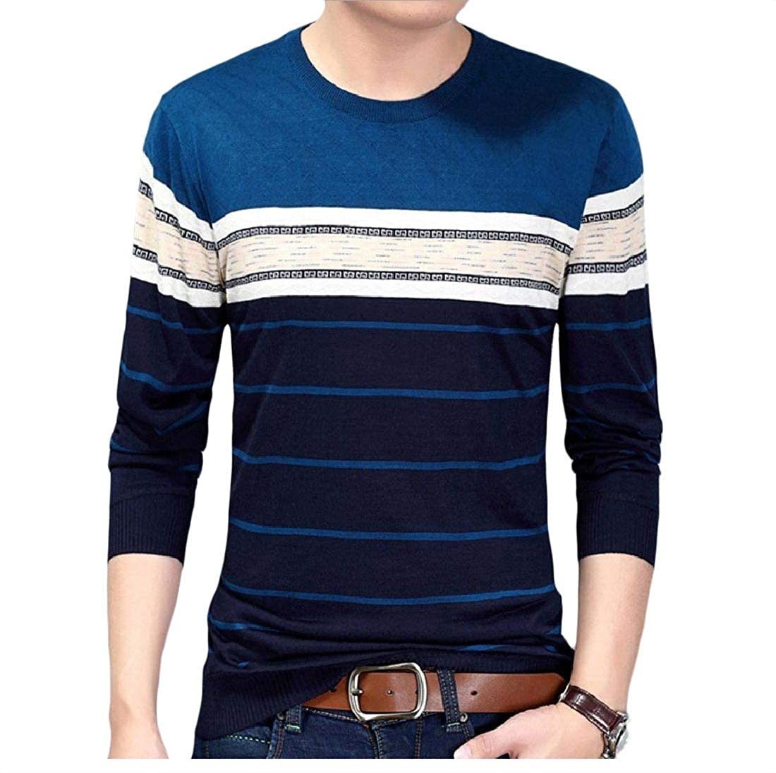 YUNY Mens Pullover Mulit Color Jacquard Knitting Ribbing Edge Sweater 17 XL