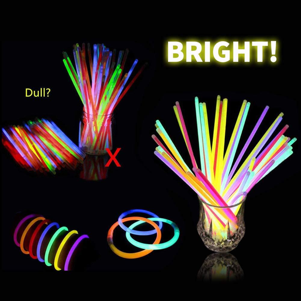 BESTZY 100 Mixte Couleur Glow Sticks Bracelets,Glow Sticks Bulk Diff/érentes Bracelets Fluos Lumineux pour Carnaval,F/ête,Anniversaire
