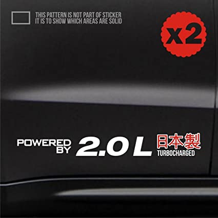 2.0 turbocharged car body door side sticker decal jdm euro 16 inch WHITE turbo taurus standard