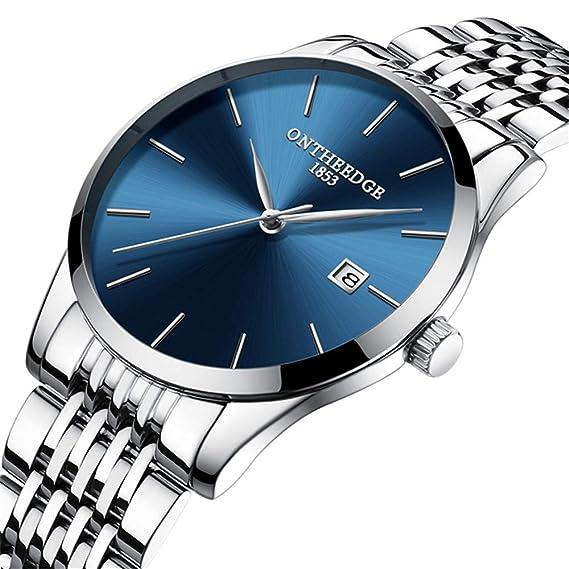 PIJSOADM Relojes para Hombre Business Slim Men Watch Luxury Quartz All Watches Men Fashion Calendar Date Gifts: Amazon.es: Relojes