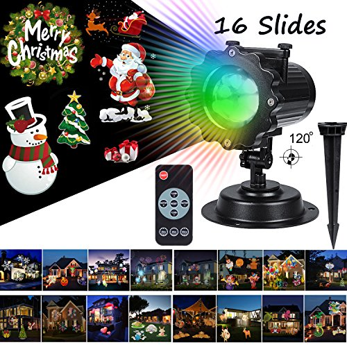 Christmas Led Projector Lights,16 Pattern Film Slideshows,Long Range 40ft Projection Distance Holiday Motion Light Projector,IP65 Waterproof Outdoor In Ground LED Lights for Halloween Parties etc.