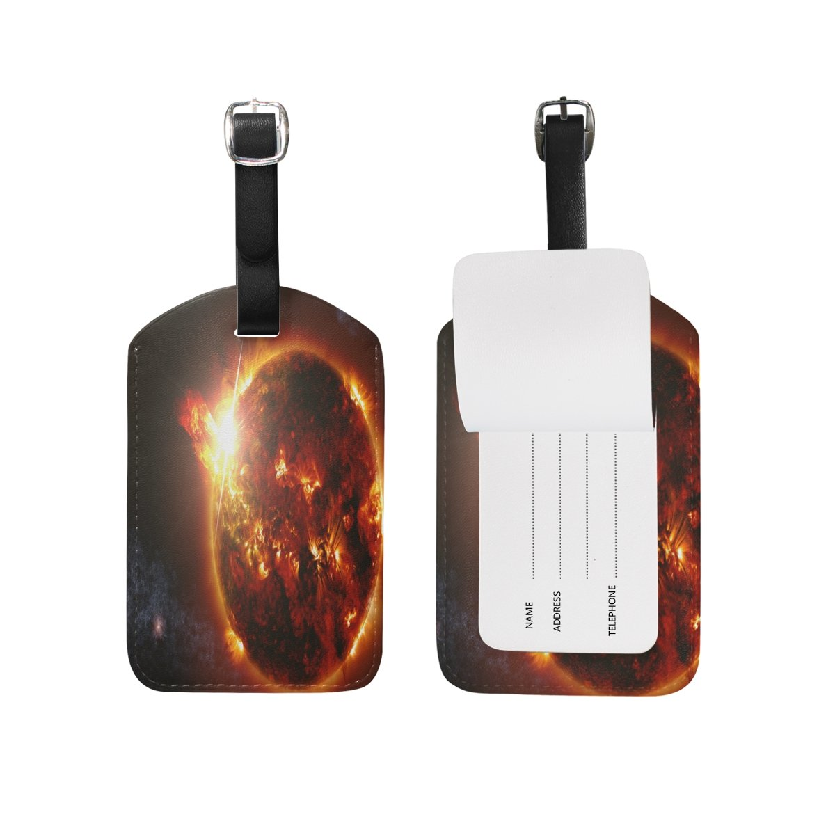 1Pcs Saobao Travel Luggage Tag Exploding Planet PU Leather Baggage Suitcase Travel ID Bag Tag