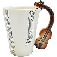 Giftgarden Tasse de Musique avec Pogné en Forme Guitare Mugs en Céramique