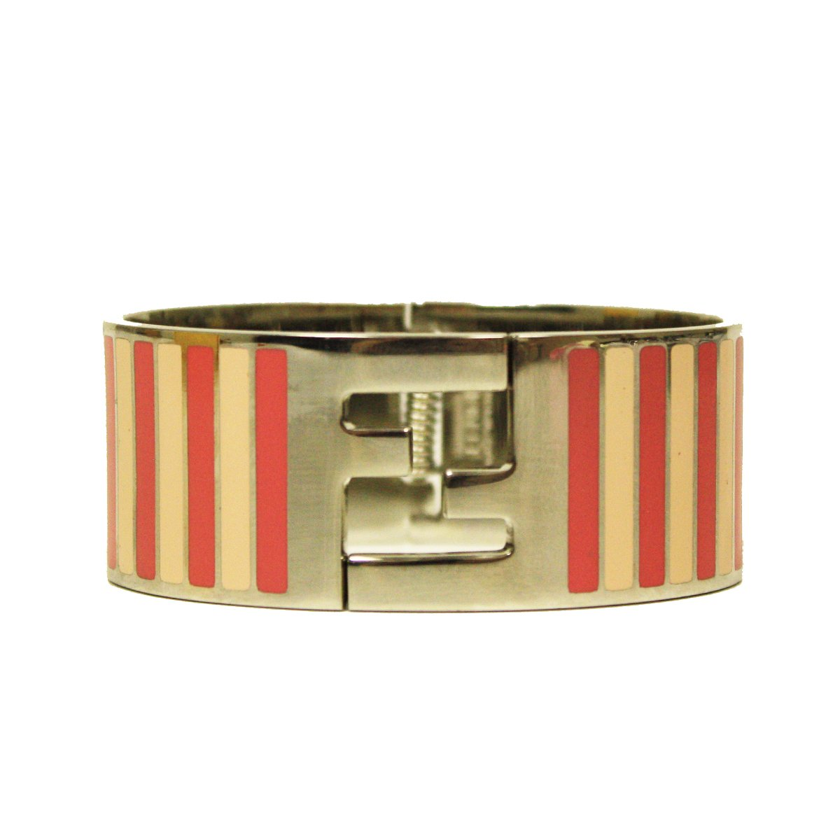 Fendi Silver Enamel Cuff with Pink Pequin Stripes Clic Clac Bracelet 8AG137