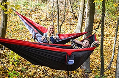 Base Camp Outfitters Double Camping Hammock, Two-person, Durable Nylon Parachute Hammock for Outdoors, Backpacking, Hiking, Fishing, Home, Beach. Heavy Duty Tree Ropes and Steel Carabiners Included.