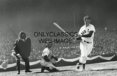 Onlyclassics Ted Williams Swing At Plate Holds Bat Catcher Umpire 11x17 Photo Poster Red Sox