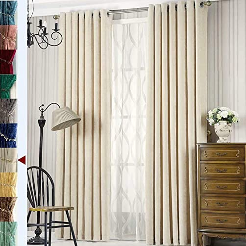MacoHome Beige Velvet Patio Door Curtain Panel Blackout Solid Grommet Draperies