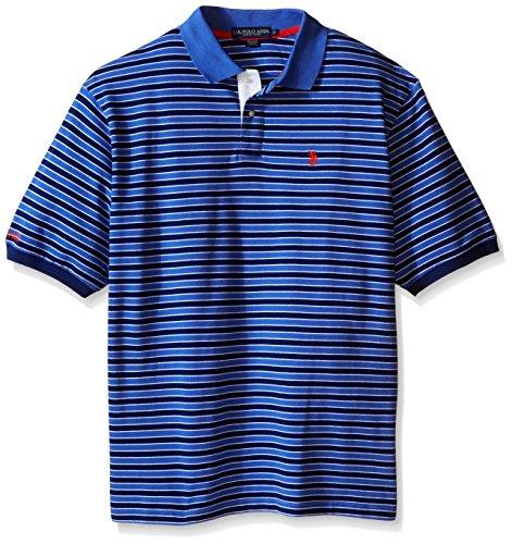 - U.S. Polo Assn.. Men's Big-Tall Slim Fit Micro Shadow Stripe Polo Shirt, Marina Blue, 2X