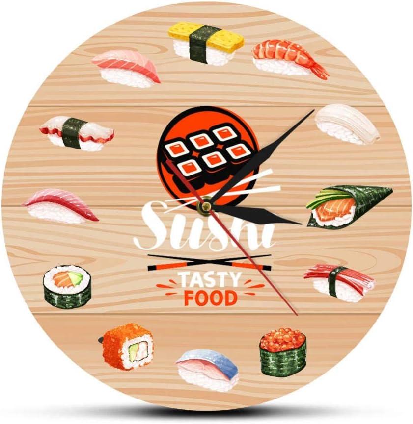 Wangzhongjie Japanese Cuisine Sushi Tasty Food Wall Clock Kitchen Wall Art Decorative Minimalist Wall Watch Gift for Foodies Restaurant Chef-No_Frame