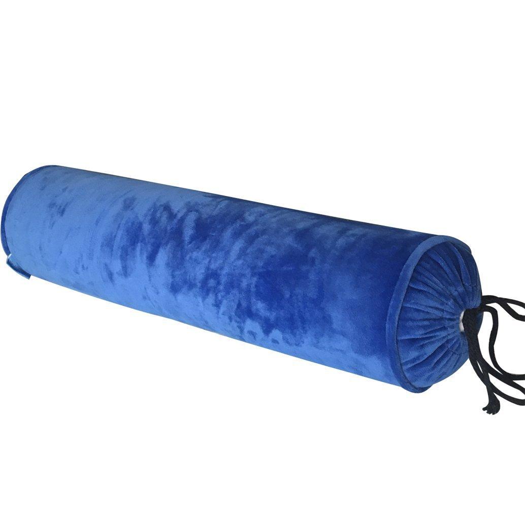 EONSHINE Elegant Velvet Fluffy Down Alternative Filled Cylindrical NeckRoll and Cervical Bed Pillow Bolster (23.6 x 5.9, Blue)