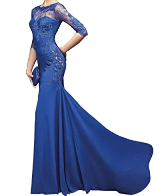 Alinafeng Dress Womens Royal Blue Mermaid Sexy Long Evening Prom Dress with Sleeves(2,