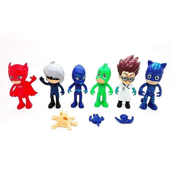 PJMASK Colección de 6 personajes figuras Gatuno Connor Catboy Amaya Buhina Lunatica Greg Gekko Gekko Romeo Night Ninja nocturno Luna Girl 4679: Amazon.es: ...