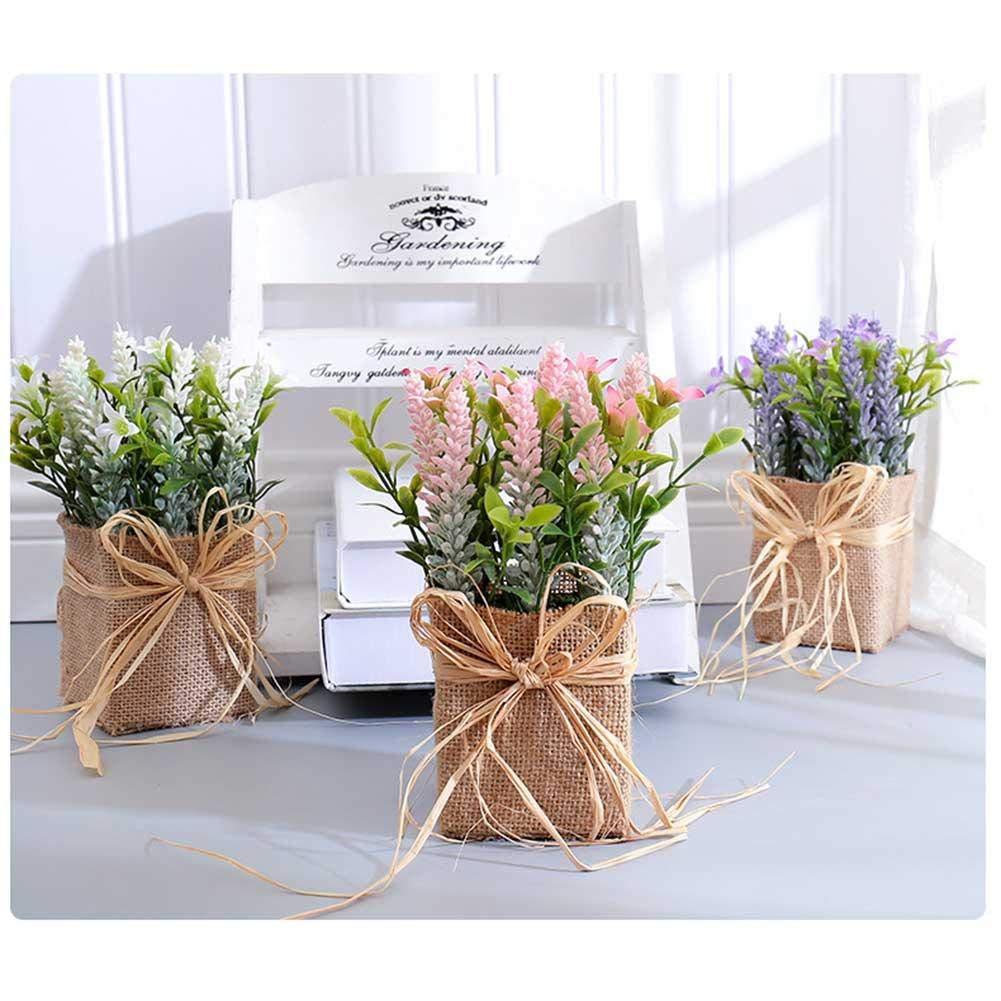 youngfate Mini en Pot Artificielle Linge Lavande Bouquet en Plastique Fleur Plantes pour Le Mariage Jardin Maison Partie Ext/érieure Bonsa/ï D/écor