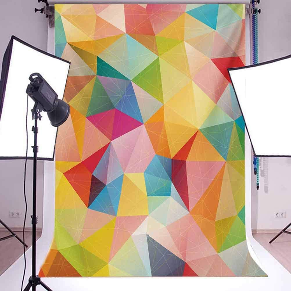 Polygonal Arrangement with Colorful Abstract Triangles Ornamental Illustration Background for Baby Birthday Party Wedding Vinyl Studio Props Photography Geometric 6.5x10 FT Photography Backdrop