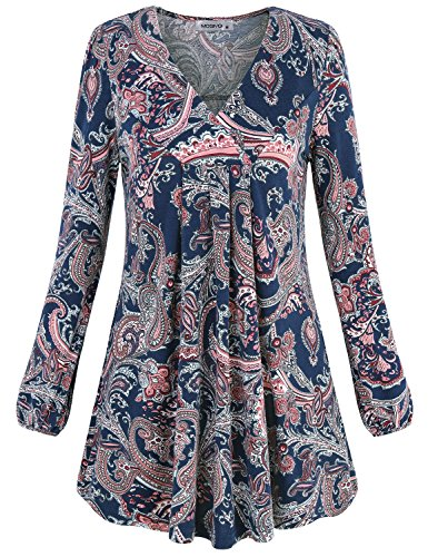 Petite V-neck Tunic (Paisley Shirt,Moqivgi Vneck Long Sleeve Petite Nice Misses Tops and Blouses Cozy Aline Relaxed Fit Winter Pullover Tunic Dark Blue Medium)