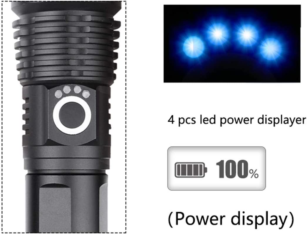 6000 Lumen XHP50.2 Linterna LED recargable Super Power Linterna de mano con zoom 5 modos Linterna LED con bater/ía incorporada y pantalla de alimentaci/ón para acampar