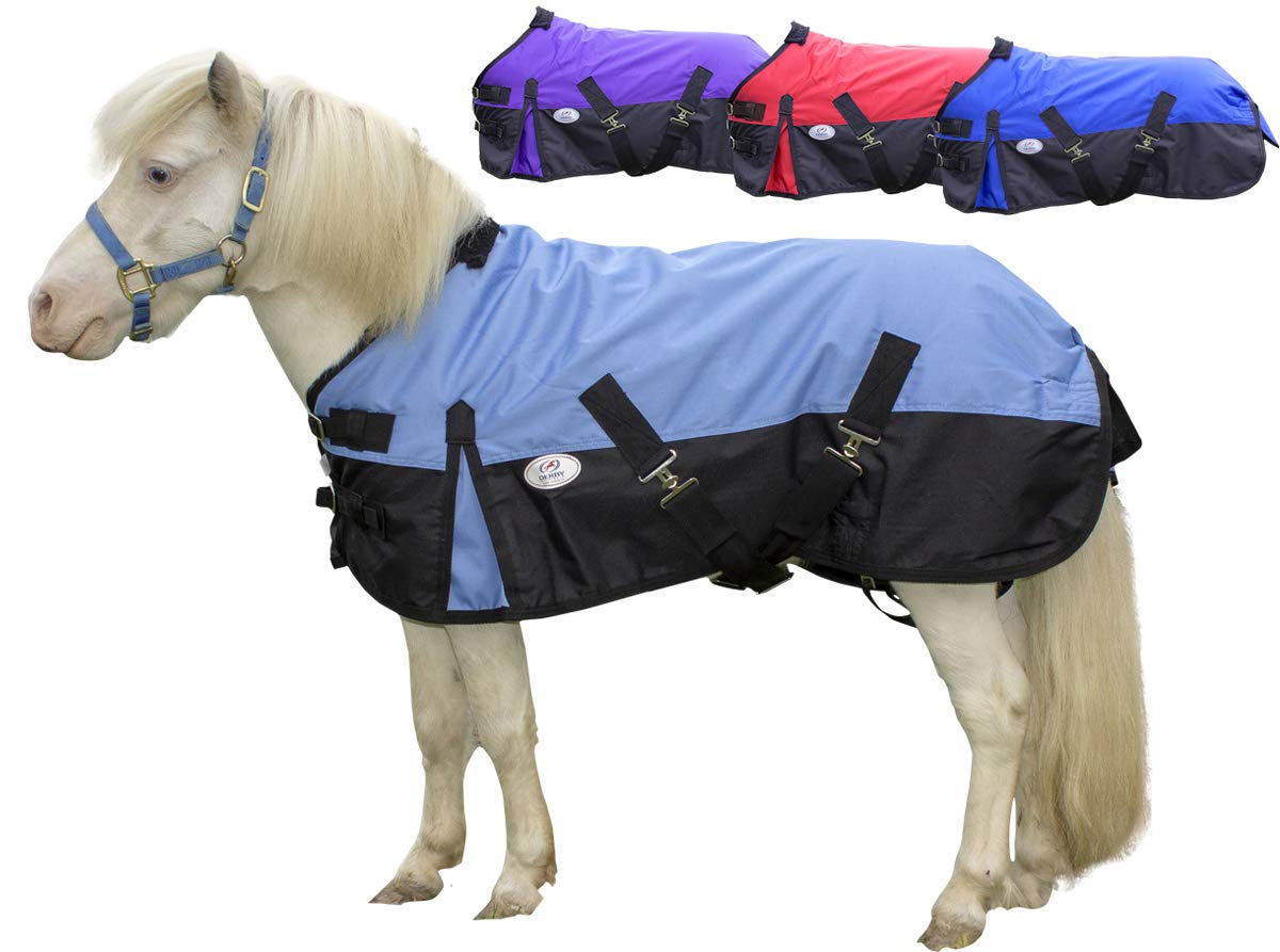 Derby Originals 600D Medium Weight Mini Horse and Pony Turnout Blankets with Warranty - Designed with Waterproof Ripstop Nylon -Medium Weight 200g Polyfil by Derby Originals