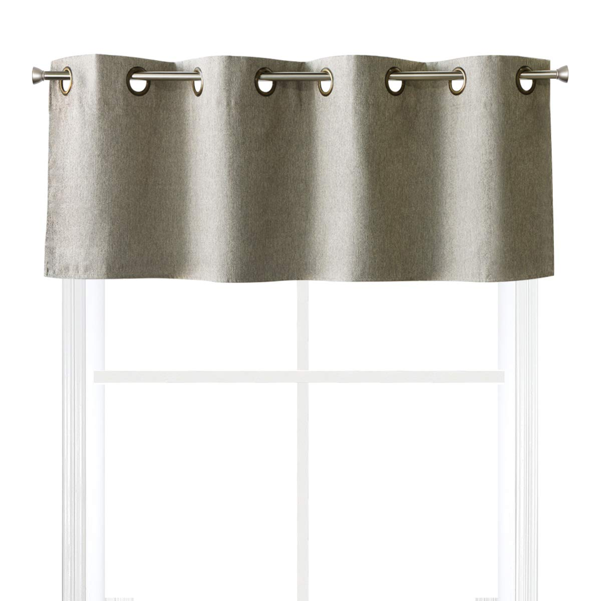 """Valea Home Blackout Window Valance for Kitchen Thermal Insulated Grommet Top Bedroom Valances Curtains for Living Room, 54"""" x 18"""", Grey Taupe"""
