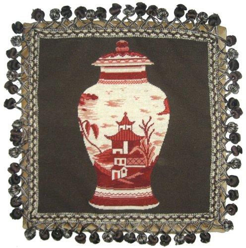 デラックス枕レッドPagoda花瓶 – 16 x 16 in. Needlepoint枕   B00ADW1GVC