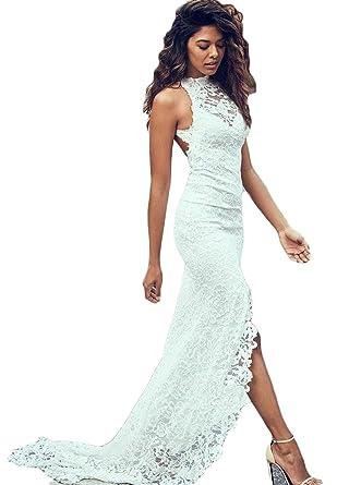 f7c6049ebe40 Fenghuavip Mermaid Bridal Dresses High Low Lace Beach Wedding Dress at Amazon  Women's Clothing store: