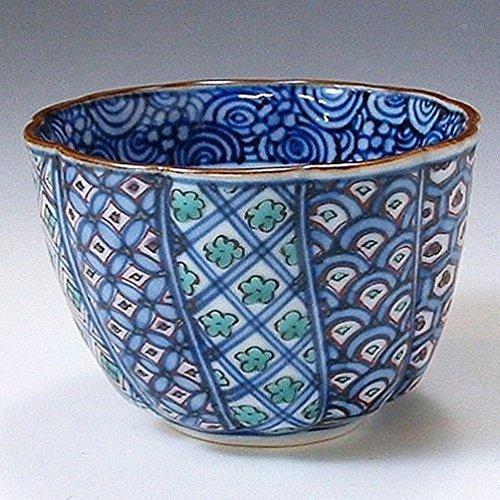 京焼清水焼 磁器 ぐい呑 色絵割古紋 木箱入 Kiyomizu-kyo yaki ware. Japanese Sake guinomi cup warikomon with wooden box. Porcelain. B0793QN32R