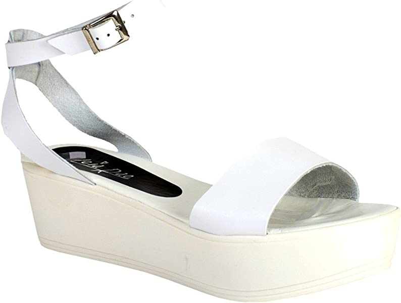 0cb1038c926a Asos Womens Ladies White Real Leather Platform Wedge Casual Sandals ...