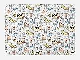 Lunarable Animal Bath Mat, Cute Cow Horse Pigs Chicken Sheep Farmhouse Mascots Kids Nursery Baby Cartoon Print, Plush Bathroom Decor Mat with Non Slip Backing, 29.5 W X 17.5 W Inches, Multicolor