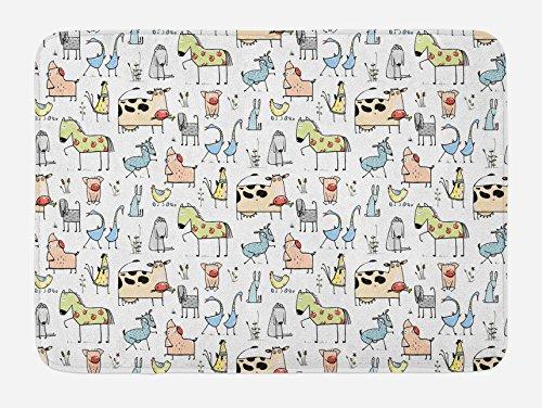 Lunarable Animal Bath Mat, Cute Cow Horse Pigs Chicken Sheep Farmhouse Mascots Kids Nursery Baby Cartoon Print, Plush Bathroom Decor Mat with Non Slip Backing, 29.5 W X 17.5 W Inches, Multicolor by Lunarable