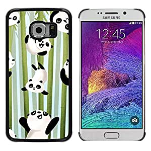 LECELL--Funda protectora / Cubierta / Piel For Samsung Galaxy S6 EDGE SM-G925 -- Happy Cute Bamboo Japan Kids --