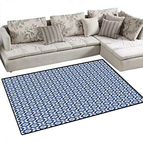 (Moroccan Anti-Skid Rugs Azulejo Tile Pattern Diagonal Ceramic Pattern Arabesque Star Design Ornament Girls Rooms Kids Rooms Nursery Decor Mats 48