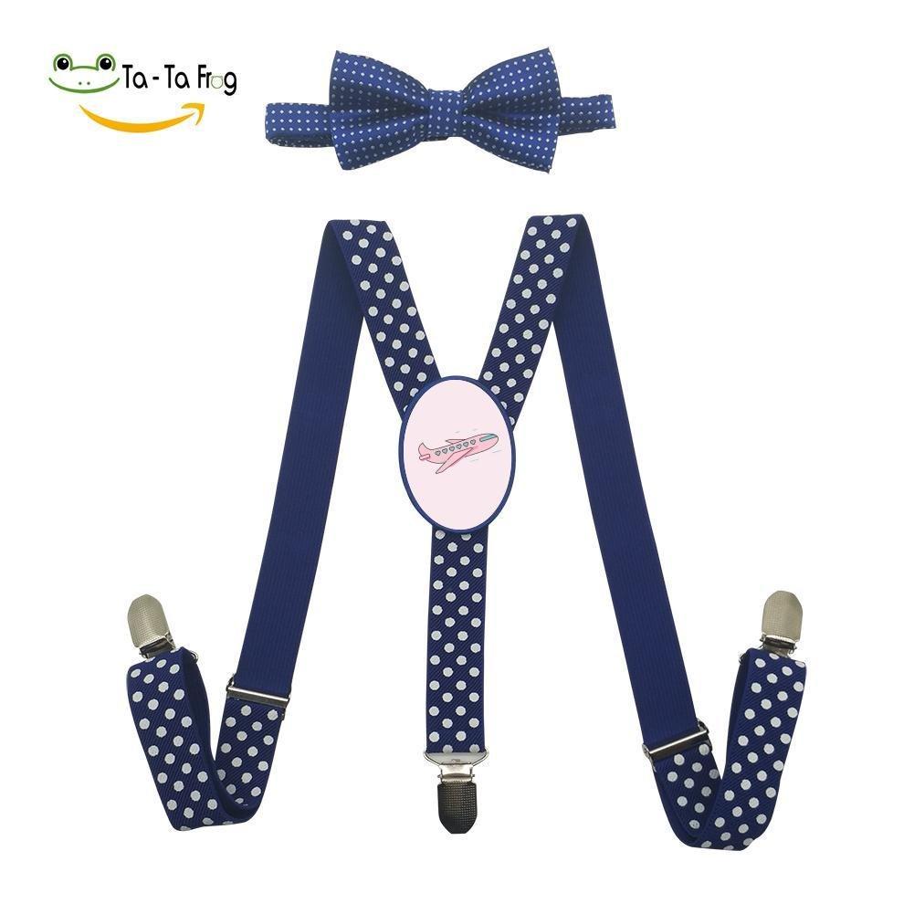 Xiacai Heart Plane Suspender/&Bow Tie Set Adjustable Clip-On Y-Suspender Boys