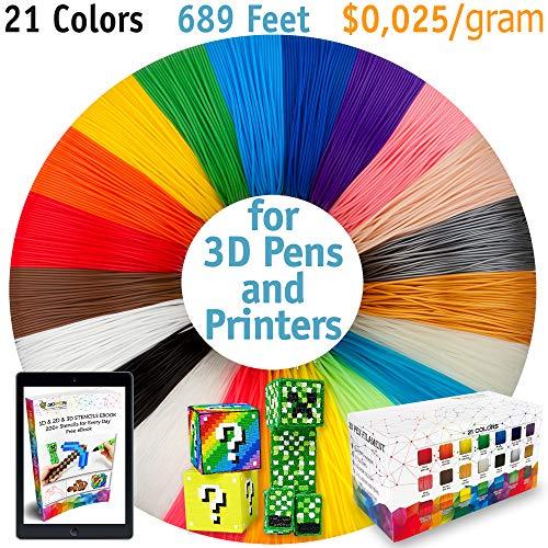 3D Pen Filament Refills - Premium Set of 21 Colors 689ft Bonus 200 Stencils EBook Including 6 Glow in The Dark - Best 1.75mm PLA Filament Pack for 3D Pens for Kids and Adults