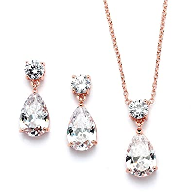 Amazoncom Mariell 14K Rose Gold Plated CZ Teardrop Bridal Necklace