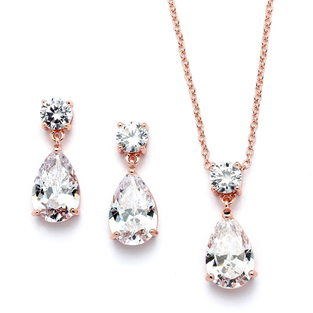 Mariell 14K Rose Gold Plated CZ Teardrop Bridal Necklace and Earring Set for Weddings, Bridesmaids & Prom