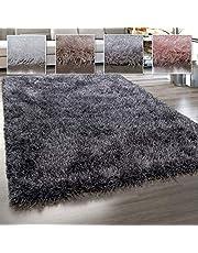 Hoogpolig vloerkleed, shaggy met glanseffect, effen in verschillende kleuren en formaten