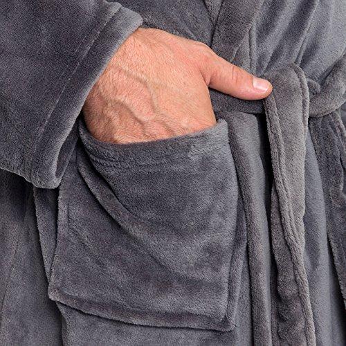 Ross Michaels Mens Hooded Robe - Plush Shawl Kimono Bathrobe (Grey b2b6be0f9