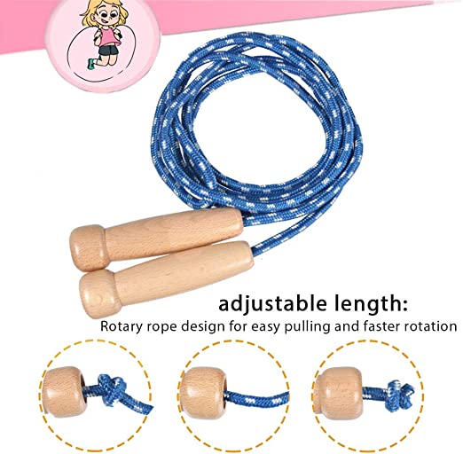 Children Kid Wood Handle Skipping Rope Outdoor Toy Fitness Exercise Jump Toys FI