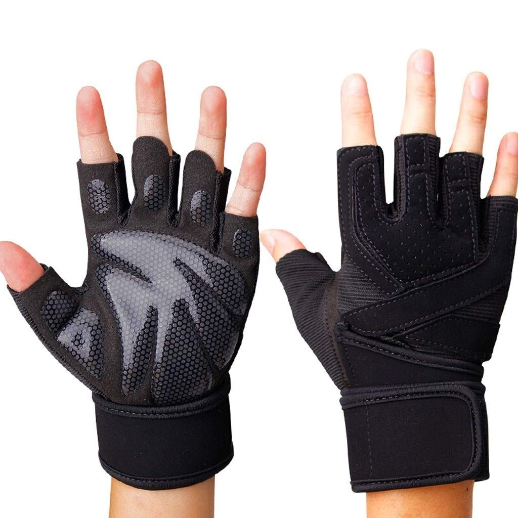 Gloves Sports Fitness Four Finger Gloves Yoga Dumbbell Training Horizontal Bar Fingers Bicycle Brass Backless Fitness Gloves Black (Pair) (Color : Black C, Size : XL) by CML Home