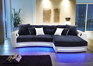 Lifestyle4living Ecksofa In Weiss Kunstleder Und Blau Microfaser Inkl Multimediapaket Sofa Hat 6 Kissen Funktionssofa Mit Led Beleuchtung