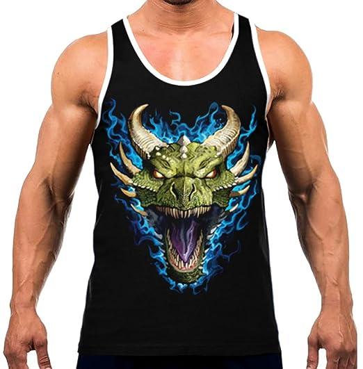999c38bcb Men's Magical Blue Flaming Dragon Head Tee White Trim Black Tank Top Small  Black